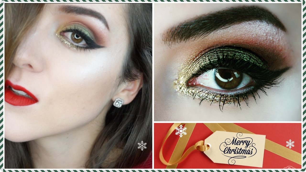Festive Christmas Makeup Tutorial Green Smokey Eyes And Golden Glitter Eyeliner Red Lips