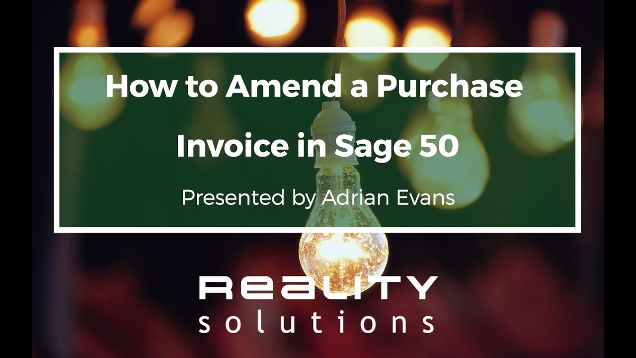 Purchase Invoices How To Sage 50 Amend Purchase Invoice  Youtube