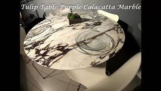Video: 127 cm round Tulip table - Purple Calacatta marble