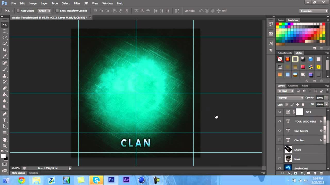 adobe photoshop clan avatar template free youtube