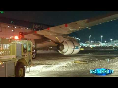 Breaking JFK Airport as Argentina Airlines plane catches FIRE