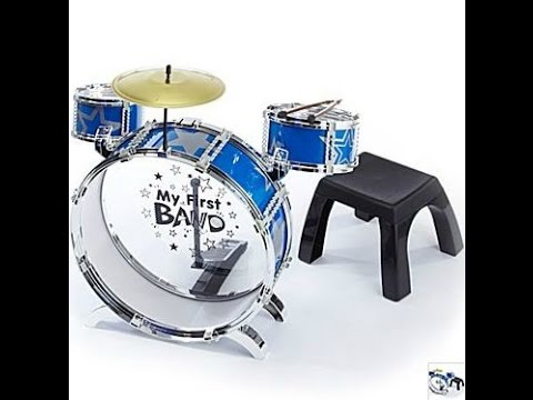 My First Band Metal Drum Kit With Stool Toddler Plays Toy Drums