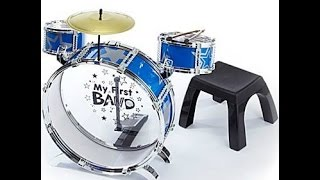 My First Band Metal Drum KIt with Stool - Toddler plays Toy Drums