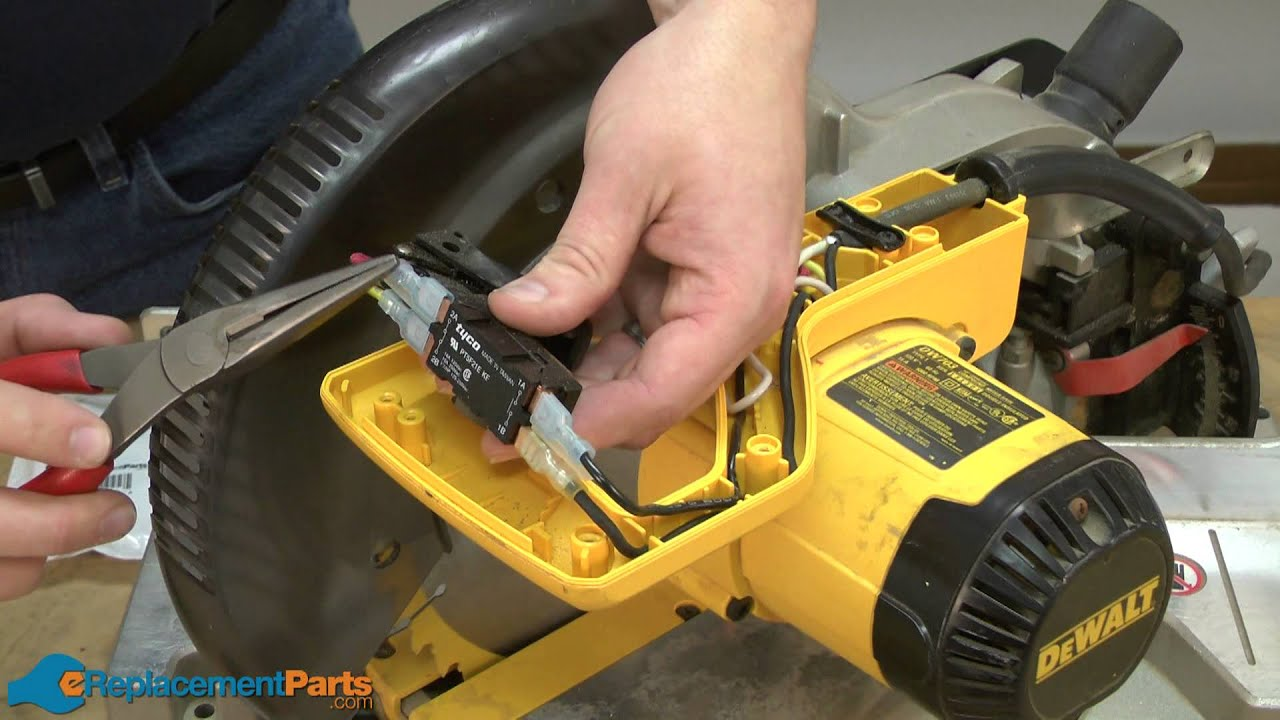 maxresdefault how to replace the switch on a dewalt dw703 miter saw youtube dw708 wiring diagram at bayanpartner.co