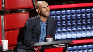 adam levine debuts bald lex luther look on the voice