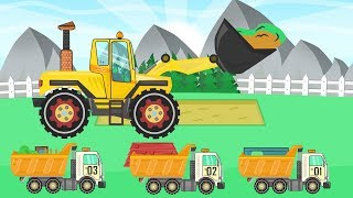 Loader and Concrete Mixer - Construction of a House with a Red roof | Fairytales for KIDS