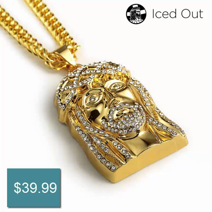 necklace gold color chain simulated hiphop men item jesus micro cuban iced pendant plated lab diamond piece mini out