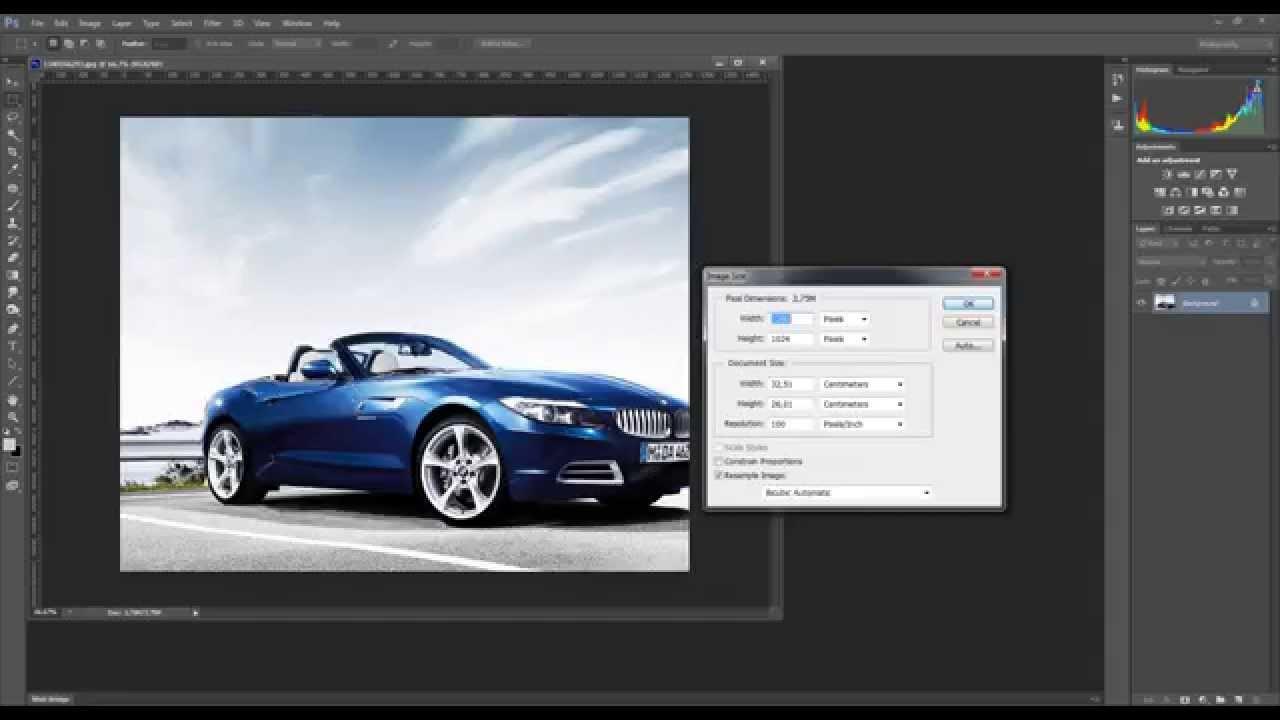 как в фотошопе менять размер изображения