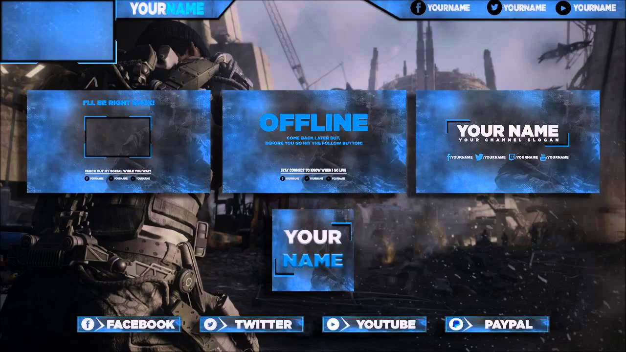 Free Youtube Banner, Twitch Banner, Twitter Header, Avatar, Template Pack  PSD