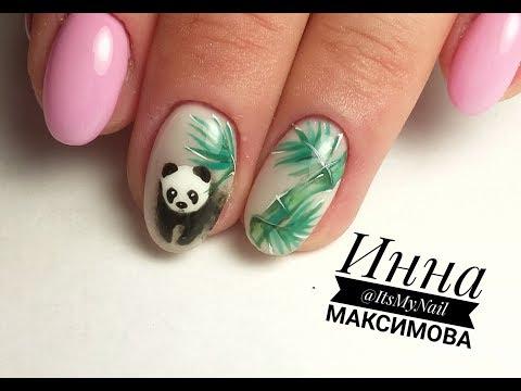 Панда на ногтях фото