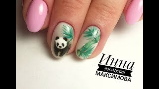 🐼 БЕЛАЯ БАЗА 🐼 милая ПАНДА на ногтях 🐼 РИСУЕМ БАМБУК на ногтях 🐼 ЛЕТНИЙ дизайн ногтей гель лаком 🐼