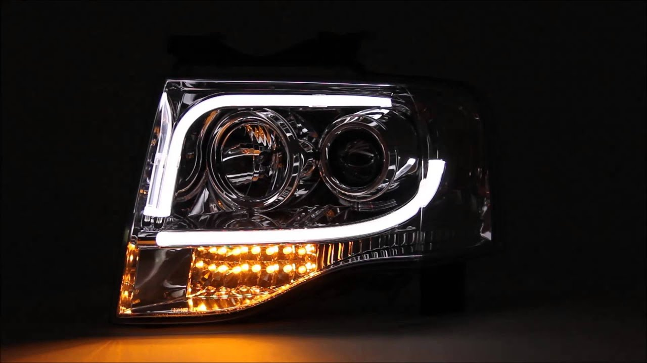 07 13 ford expedition led indicator light tube drl projector headlights