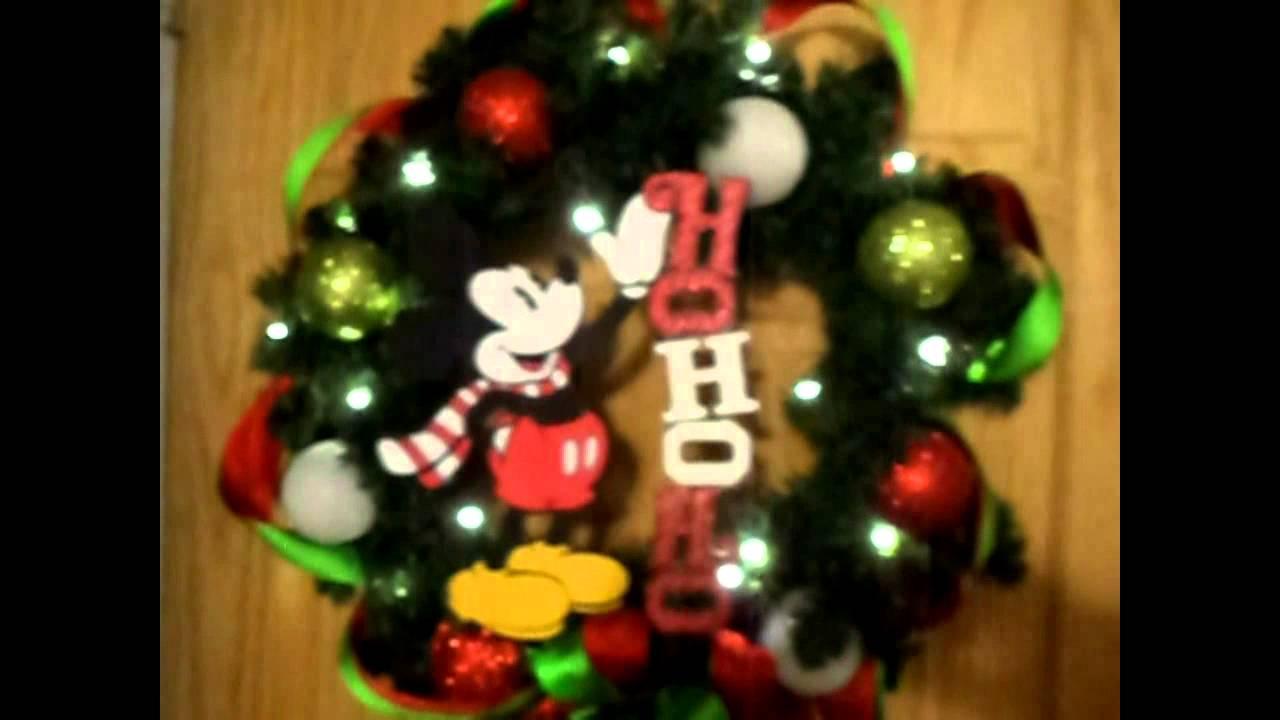 ho ho ho classic mickey mouse christmas wreath style 1 - Mickey Mouse Christmas Wreath