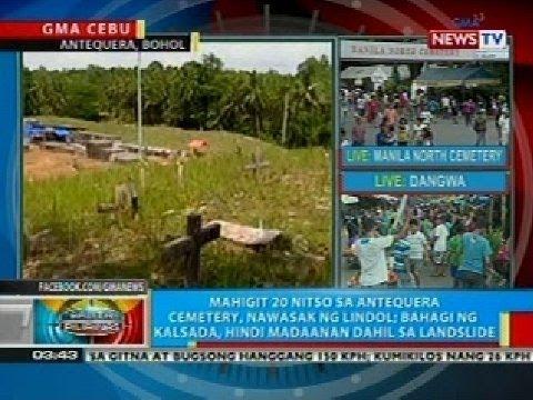 BP: Mahigit 20 nitso sa Antequera Cemetery sa Bohol, nawasak ng lindol