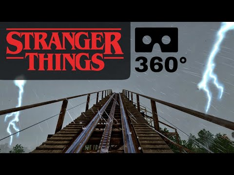 360° VR Stranger Things Roller Coaster Demogorgon Netflix Ride POV 360 도 롤러코스터 ジェットコースター