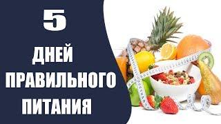5 дней правильного питания, вариант меню