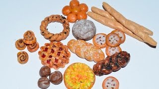 Хлебобулочные изделия из полимерной глины (кукольная миниатюра).