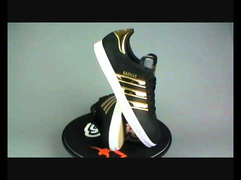 Adidas Originals Gazelle 2 Trainers Blk.Gold at yukka