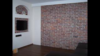 Dekoracja na ścianę z starej cegły.