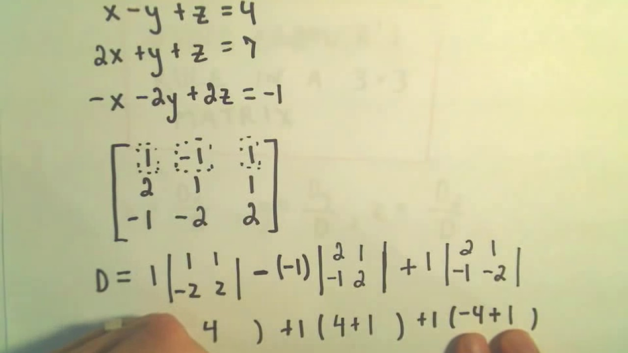 Cramer's Rule to Solve a System of 3 Linear Equations - Example 2