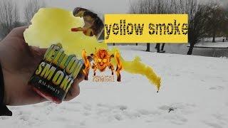 mooi ding in de sneeuw!!! yellow smoke grenade new generation! van ...