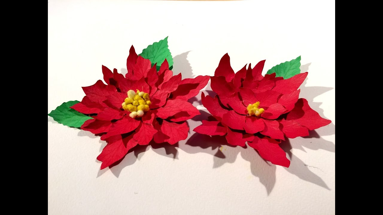 christmas flower poinsettia paper flowers christmas decoration paper craft papierblumen youtube - Poinsettia Christmas Decorations