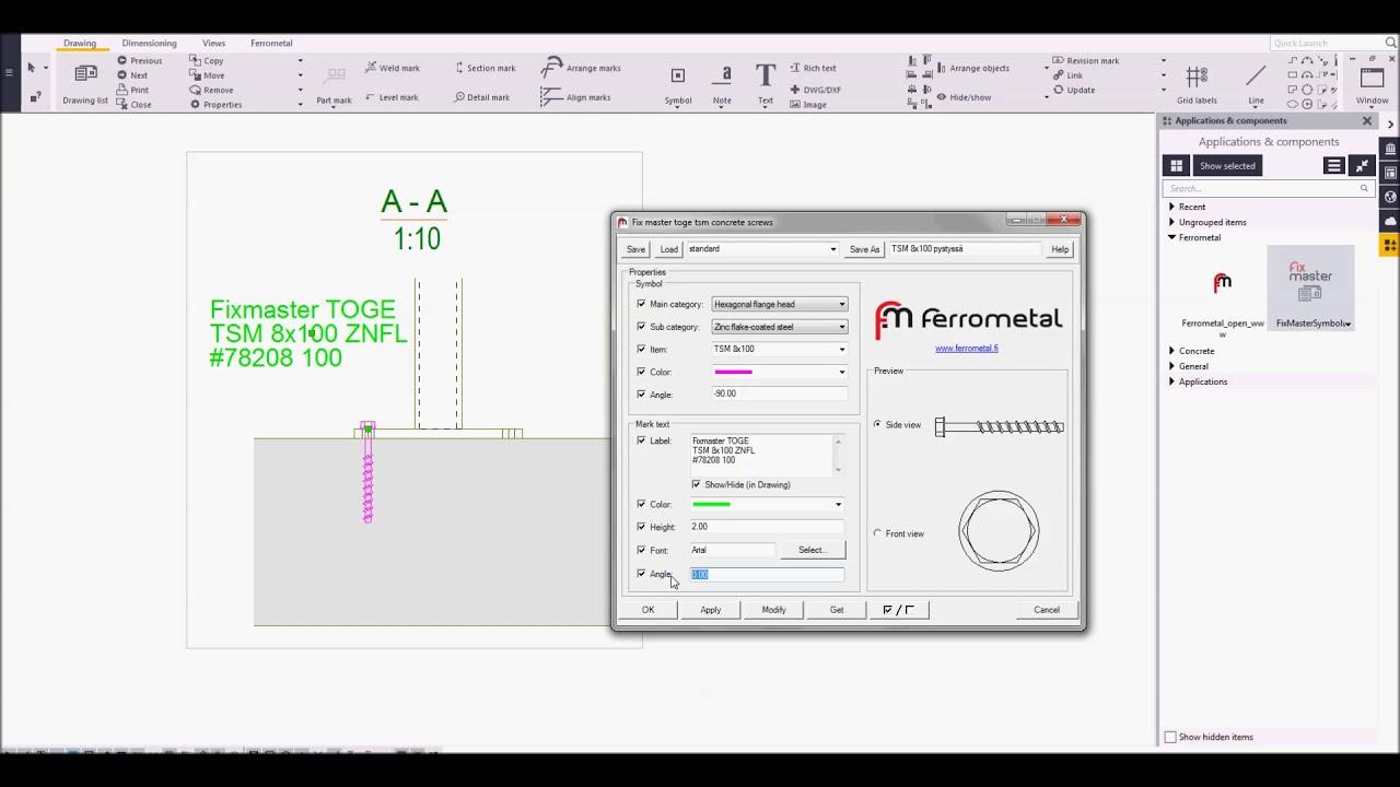 Ferrometal Tekla Structures extension for symbols - text editing