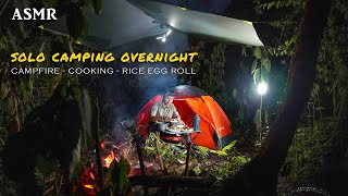 SOLO CAMPING OVERNIGHT | CAMṖFIRE | COOKING RICE EGG ROLL & CANAI BREAD | ASMR