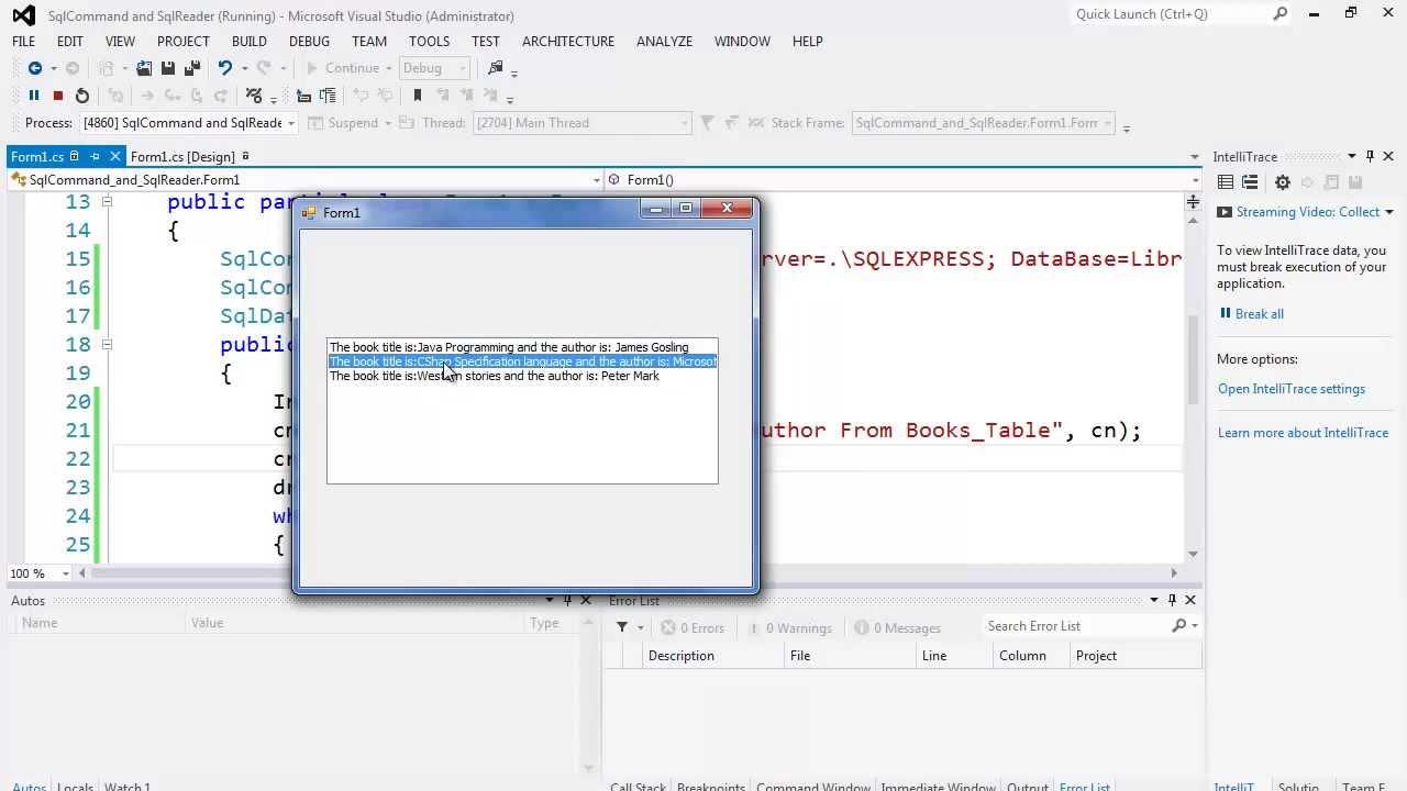 82. برمجة قواعد البيانات - جلب البيانات عبر SqlCommand و SqlDataReader