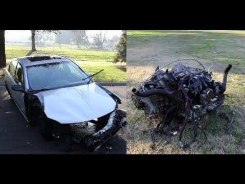 Head On Collision Car Engine Ejected Amp Flies 100 Feet