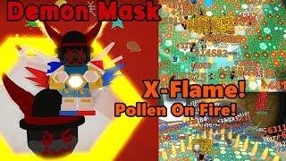 I Got Demon Mask! X-Flame Power! OP Attack Damage! - Bee Swarm Simulator