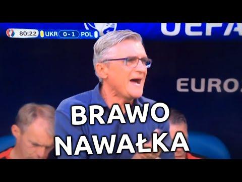 Adam Nawałka - KURWA MAĆ !!! Mecz Polska - Ukraina Euro 2016 przeklina