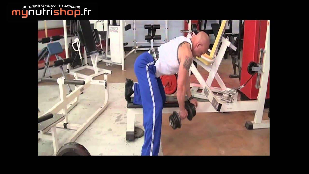 Exercice musculation dos Rowing 1 bras avec haltère - YouTube