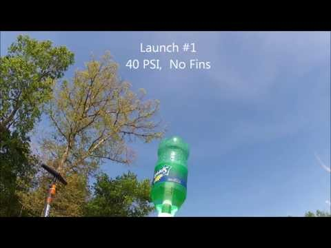 Finned Flight Time vs. No Fin Flight Times.  40 PSI Water Rocket Comparison.