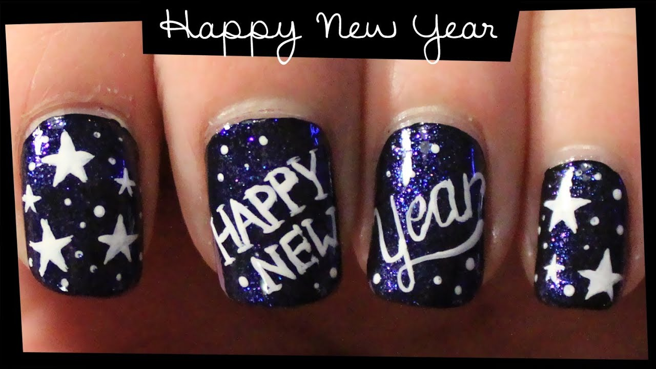 Happy New Year nail art - YouTube