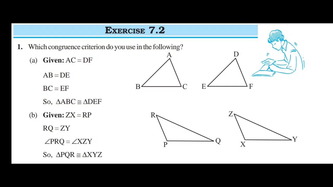 Maths class 7 chapter 7 congruence of triangles ex 7.2 ...