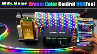 How To Connect Dream Color Music WiFi Controller To Control 1,000Ft+ WS2812B LED Strip Lights Screen
