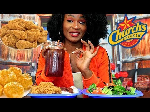 CHURCH'S CRISPY FRIED CHICKEN WITH RICE, BEANS, & SAUSAGE MUKBANG!