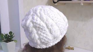 Женская шапка с косами. Вяжем спицами