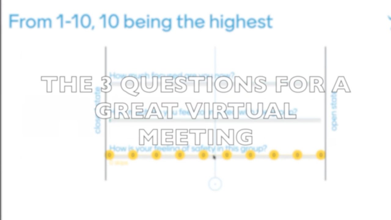 THE 3 QUESTIONS FOR A GREAT VIRTUAL MEETING