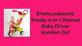 Erfahrungbericht Dreirad: Smoby 4-in-1 Dreirad Baby Driver Komfort Girl |  Werbung