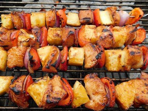 Teriyaki  Chicken And Pineapple Kabobs On Weber Kettle