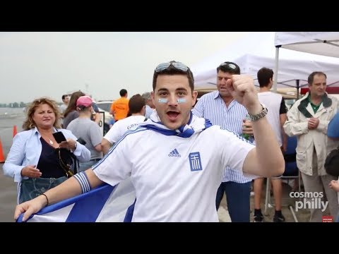 Fans of the Greece National Soccer Team Show Support in Philadelphia