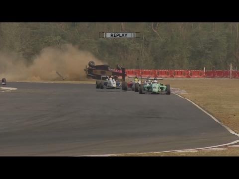 MRF Challenge Formula 2000 2017. Race 4 Madras Motor Race Track. Ralf Aron Crash Flip