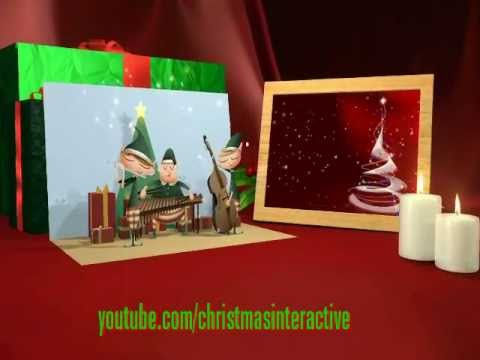 Merry Christmas greeting cards with sing along songs & lyrics Happy New Year!
