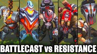 All New BATTLECAST vs RESISTANCE Skins Spotlight Zac Nasus Jayce Yorick Singed (League of Legends)