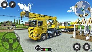 모바일 크레인 트럭 시뮬레이터-고속도로 육교 설치-Android 게임 플레이