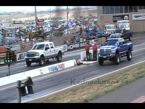 Drag race Ford Powerstroke 7.3 with mods vs stock Dodge Cummins turbo diesel 6.7