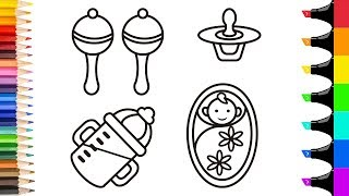 How to draw a baby rattle bottle black nipple for kids