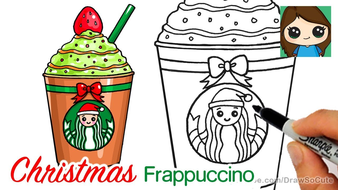 How to Draw a Starbucks Christmas Frappuccino Easy - YouTube